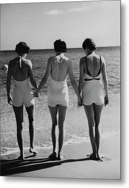 Models On A Beach Metal Print