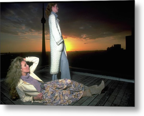 Models On A Roof At Sunset Metal Print
