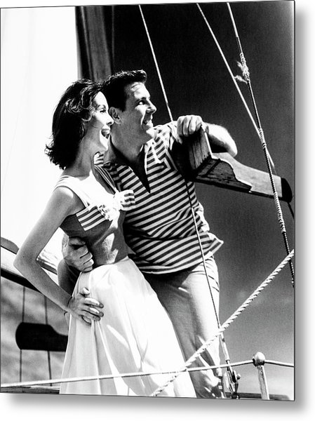 Models On A Sailboat Metal Print
