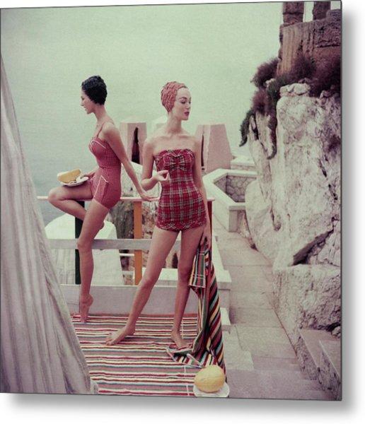 Models Wearing Bathing Suits In Palermo Metal Print by Henry Clarke