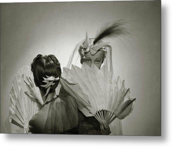 Models Wearing Patou Headdresses Metal Print by Cecil Beaton