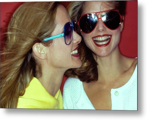 Models Wearing Sunglasses Metal Print by Jacques Malignon
