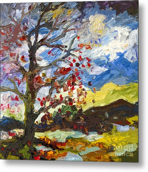 Modern Art Autumn Tree Red Leaves Falling Metal Print