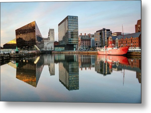 Modern Buildings At Albert Dock Against Metal Print