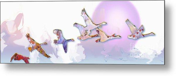 Modern Decorative Geese In Flight Metal Print