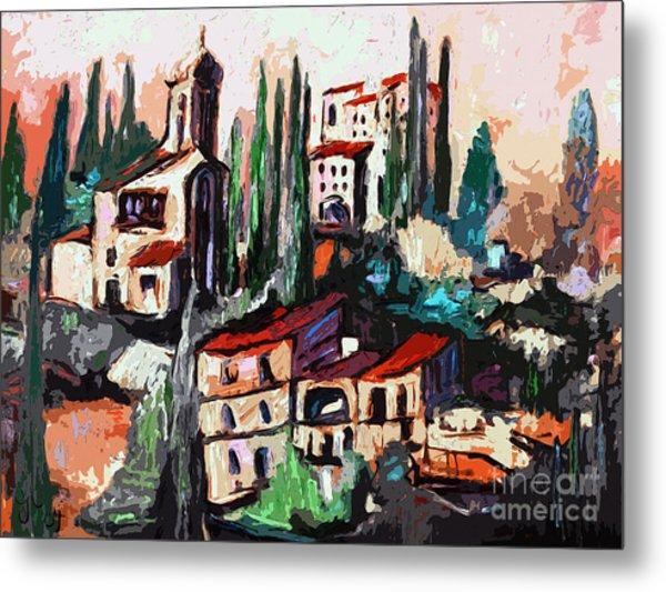 Modern Expressive Tuscan Village Art Metal Print