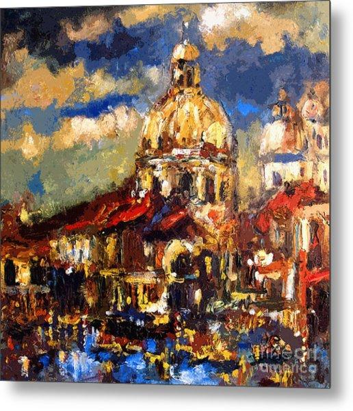Modern Impressionist Venice Sparkling At Sunset  Metal Print