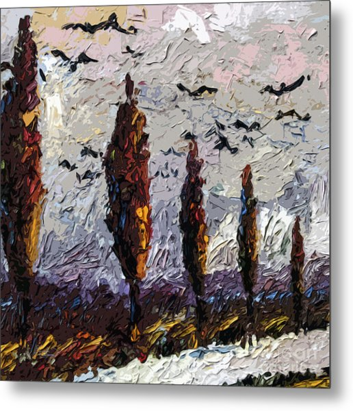 Modern Italian Landscape Trees Paintings Triptych Abstract Mixed Media Art Metal Print