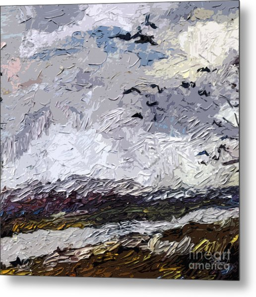 Modern Landscape Paintings Triptych Abstract Mixed Media Art Metal Print