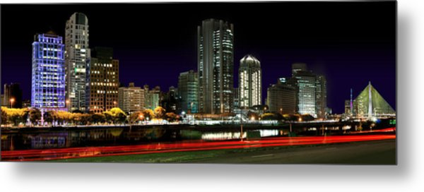 Modern Sao Paulo Skyline Near Brooklin District And Stayed Bridge Metal Print