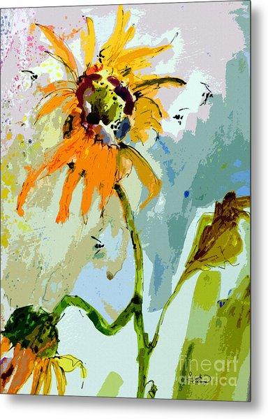 Modern Sunflowers And Bees Art Metal Print
