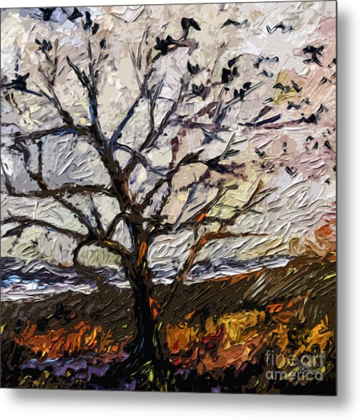 Modern Tree Paintings Triptych Abstract Mixed Media Art Metal Print