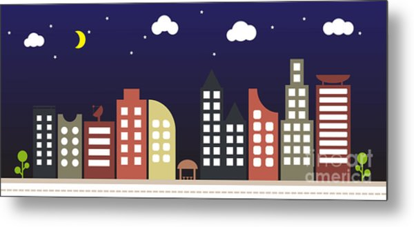 Modern Urban Building Landscape Vector Metal Print by Bwart
