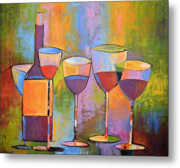Modern Wine Art ... Wine Party Metal Print