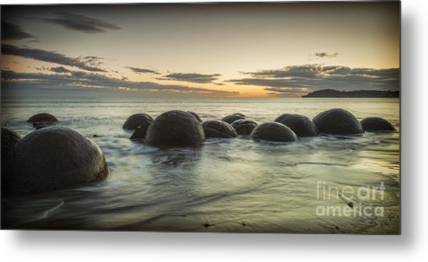 Moeraki Boulders New Zealand At Sunrise Metal Print