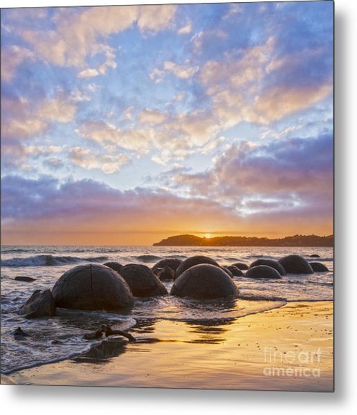 Moeraki Boulders Otago New Zealand Sunrise Metal Print