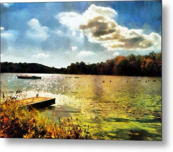 Mohegan Lake Gold Metal Print