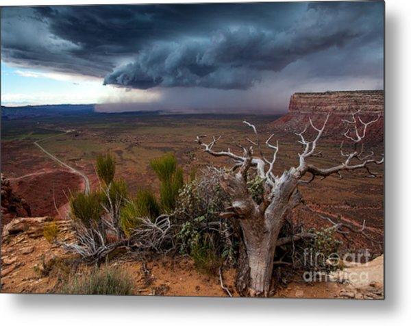 Moki Dugway Thunderstorm - Southern Utah Metal Print
