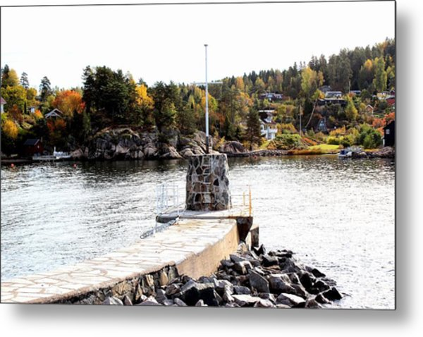 Molo By The Norwegian Fjord Metal Print