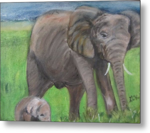 Mom And Baby In Kenya Metal Print
