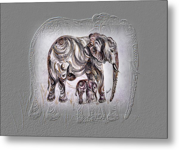Mom Elephant Metal Print
