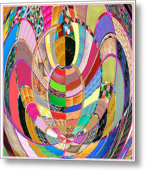 Mom Hugs Baby Crystal Stone Collage Layered In Small And Medium Sizes Variety Of Shades And Tones Fr Metal Print