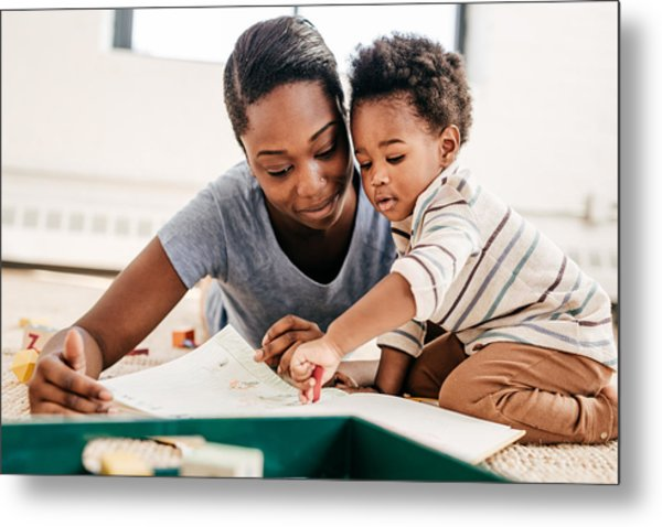Mom Reading For Toddler Metal Print by Weekend Images Inc.