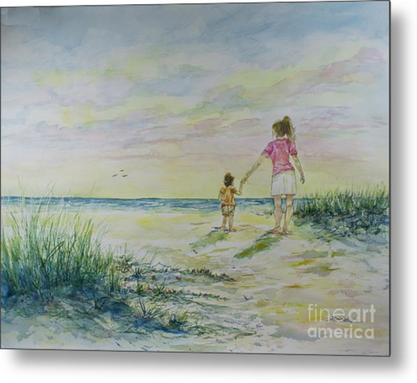 Mommy And Me At The Beach Metal Print