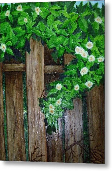 Mom's Backyard Cedar Fence Metal Print by Jan Wendt