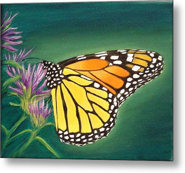 Monarch And Liatris Metal Print