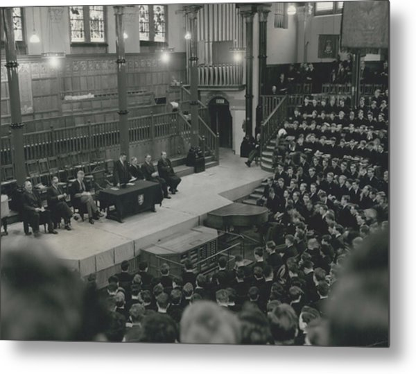 Monday Assembly In The Speech Room At Harrow School Metal Print by Retro Images Archive