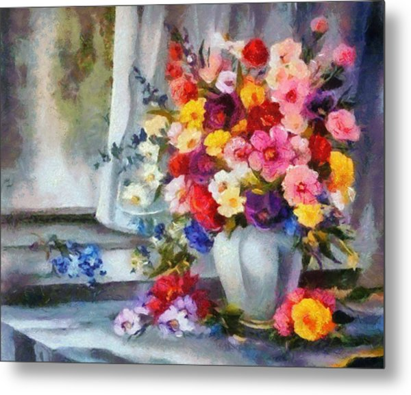 Monet Floral Edged Metal Print