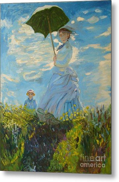Monet-lady With A Parasol-joseph Hawkins Metal Print