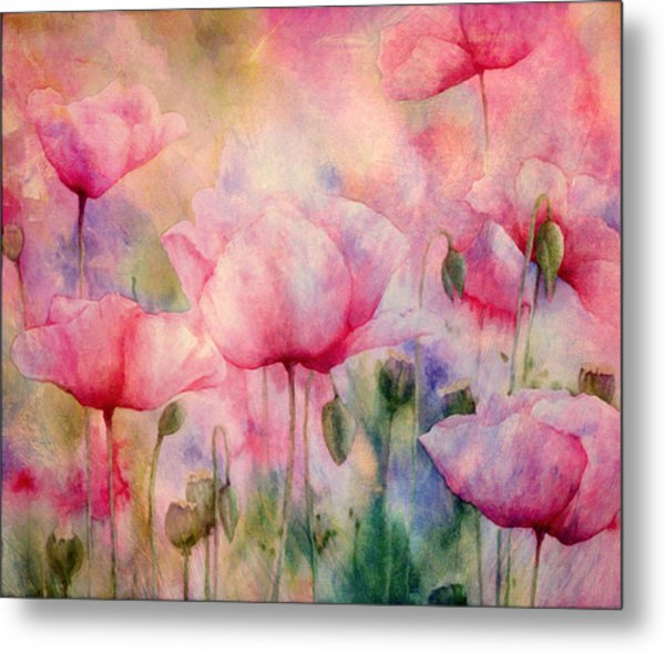 Monet's Poppies Vintage Warmth Metal Print