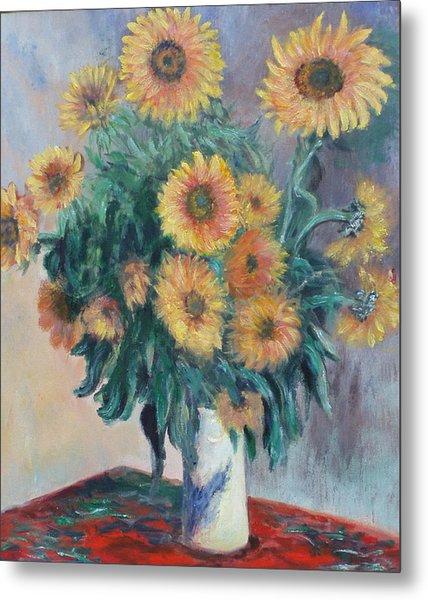 Monet's Sunflowers Metal Print