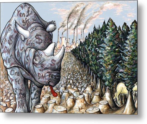 Donald Trump - Money Against Environment - Political Cartoon Metal Print