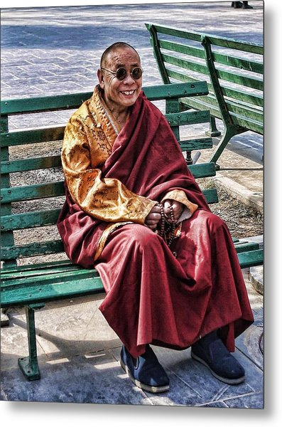 Monk In The Park Metal Print by Barb Hauxwell