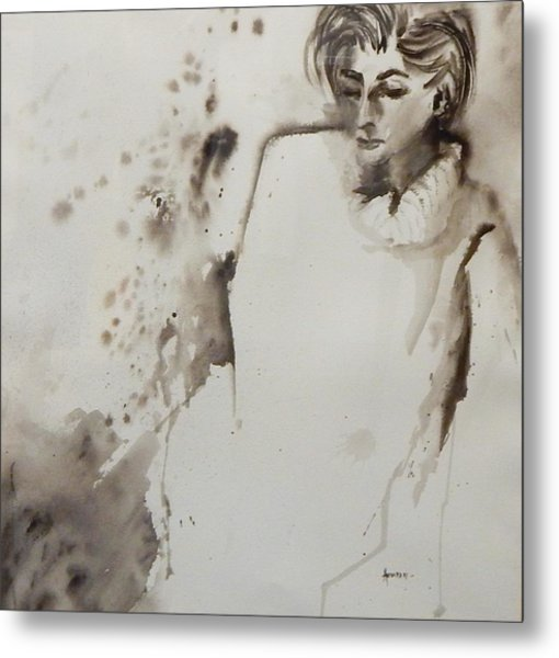 Monochrome Lady Metal Print