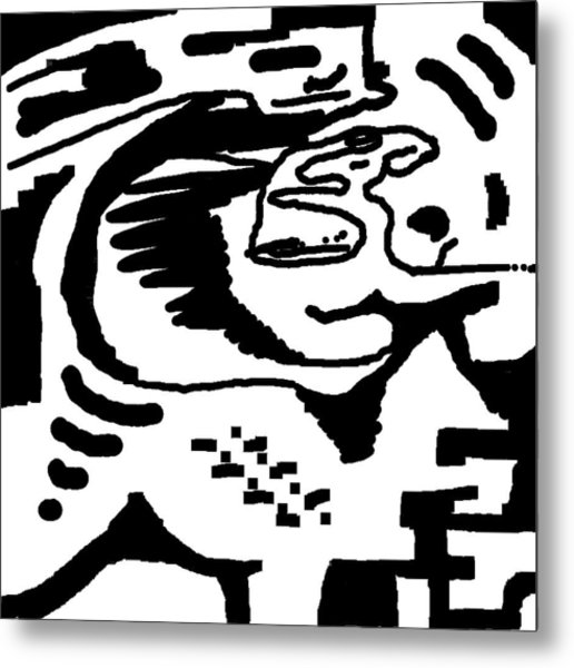 Monochrome New1builder3 Glyph 4 Metal Print