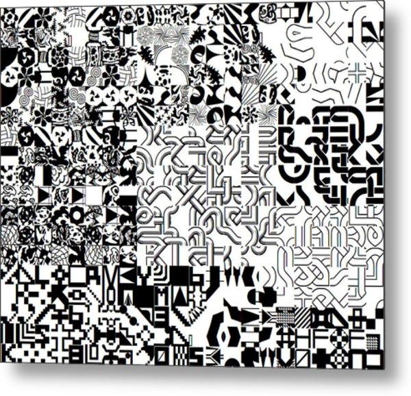 Monochrome Random Glyphs Metal Print