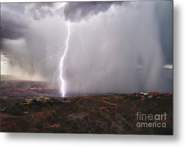 Monsoon Lightning Hits Clarkdale Arizona As Seen From Jerome Metal Print