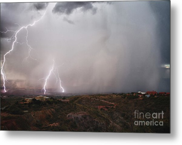 Monsoon Lightning Storm Over The Jerome State Park In The Verde Valley Arizona Metal Print