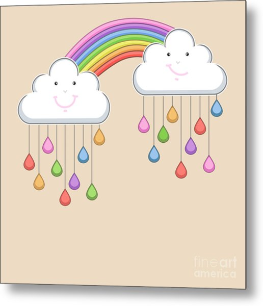 Monsoon Season Background With Happy Metal Print by Allies Interactive