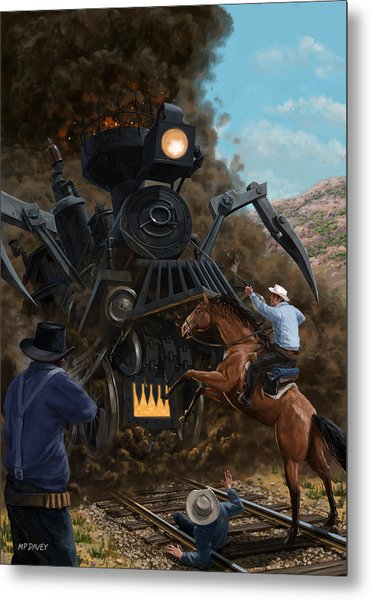 Monster Train Attacking Cowboys Metal Print