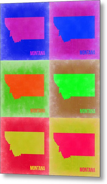Montana Pop Art Map 2 Metal Print