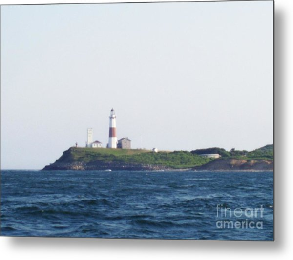 Montauk Lighthouse From The Atlantic Ocean Metal Print