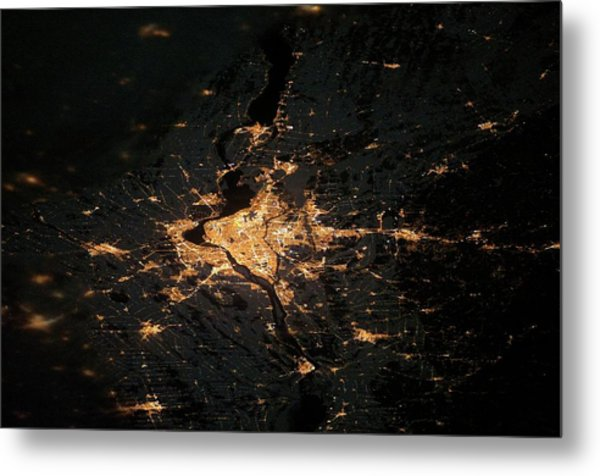 Montreal At Night From Space Metal Print