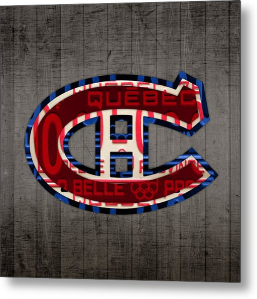 Montreal Canadiens Hockey Team Retro Logo Vintage Recycled Quebec Canada License Plate Art Metal Print