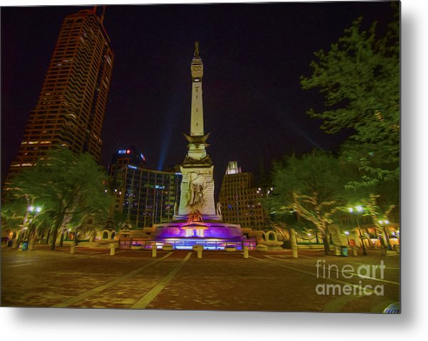Monument Circle Indianapolis Digital Oil Paint Metal Print by David Haskett