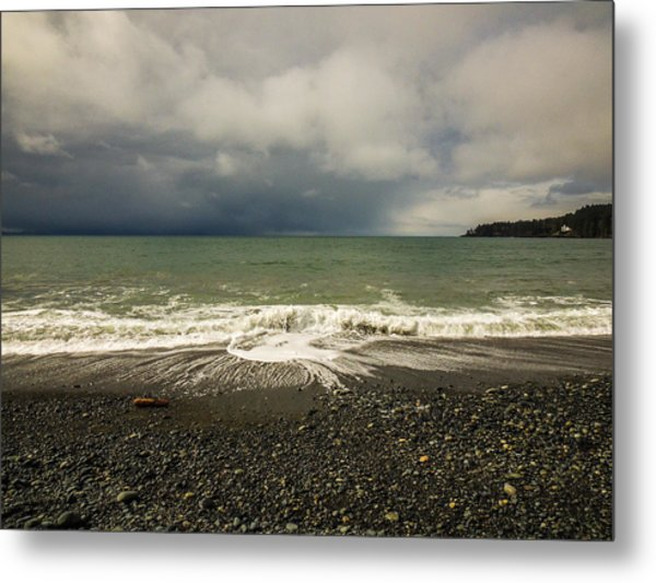 Moody Swirl French Beach Metal Print
